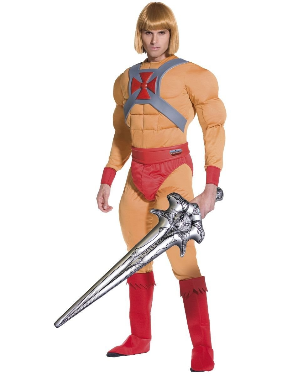 M Mens HeMan with Inflatable Sword He Man Prince Adam 1980s Cartoon TV Stag Do Fancy Dress Costume Outfit (Medium)