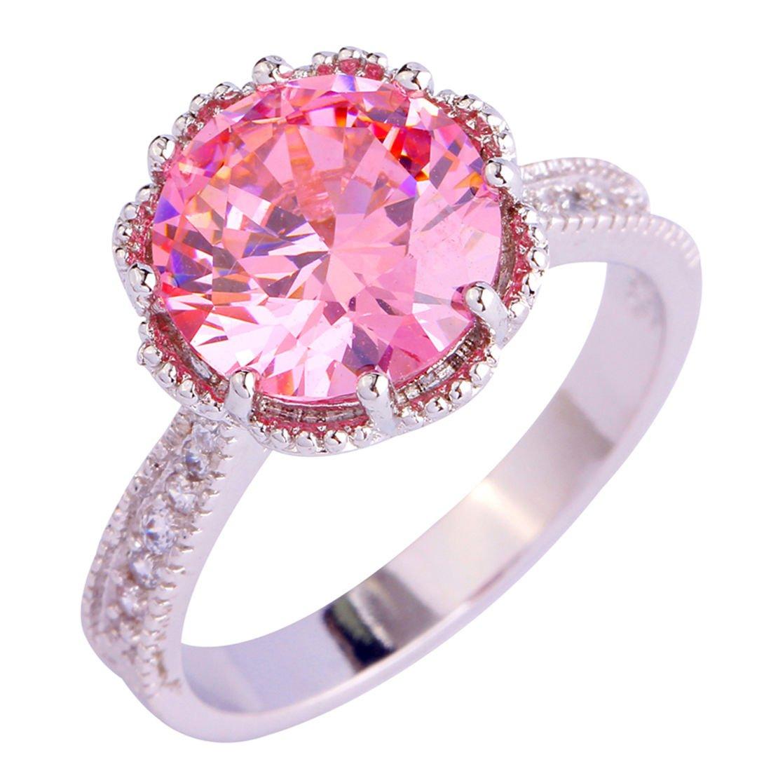 Amazon.com: Amethyst Pink Blue White Gemstone Women AAA Silver Ring ...