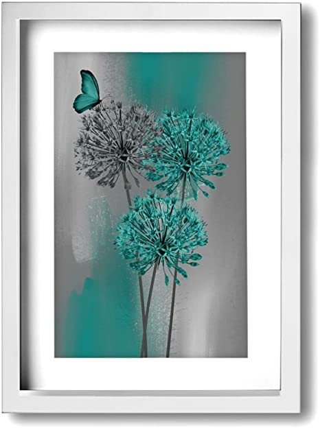 Amazon Com Ale Art Modern Frame Bathroom Wall Art Teal Gray Dandelion Vintage Pictures Bath Wall Art Ready To Hang For Home Decor Posters Prints