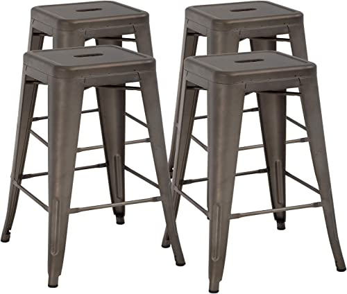 FDW 24 Inches Bar Stools Set of 4 Counter Stool Barstools Indoor/Outdoor Metal Bar Stools Stackable Modern Metal Bar Stools Kitchen Counter Stools Chairs Bronze