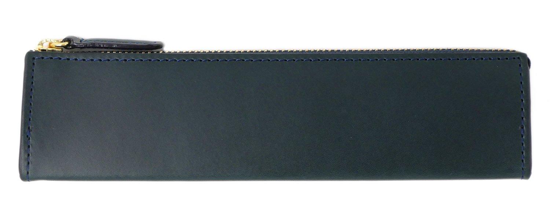 SlipOn Fastener Pen Case M Rio Leather Navy Iol3808