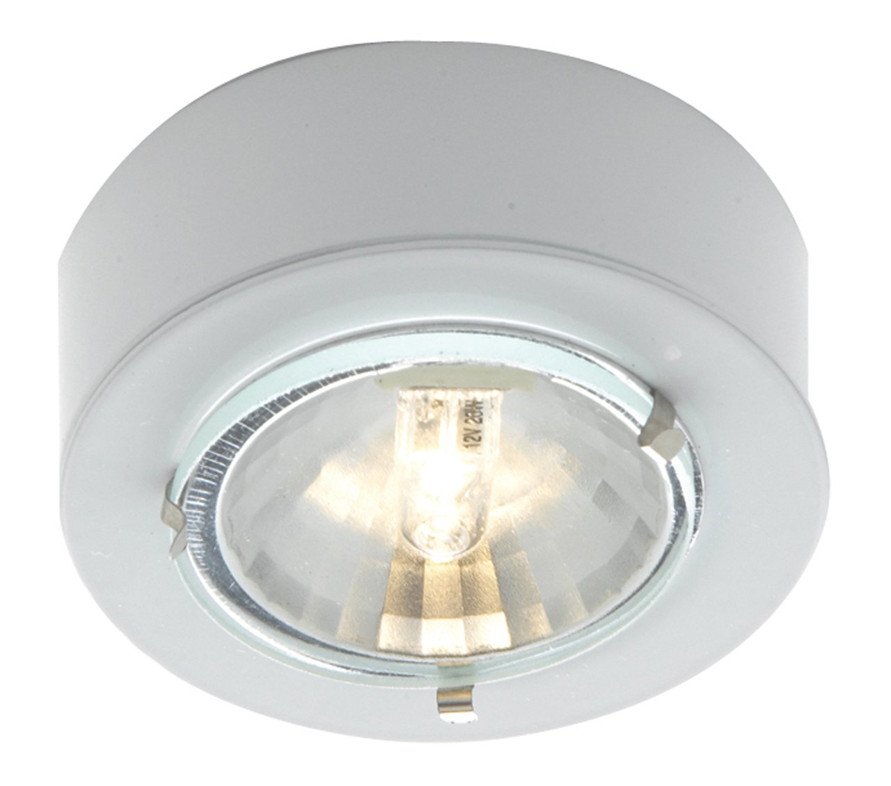 Eurofase R030-02 1-Light Mini Puck Halogen Cabinet Light, White/Aluminum