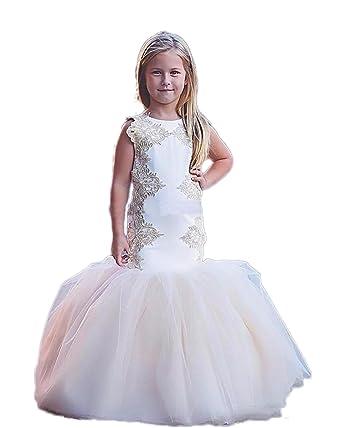 Amazon.com: RMDress Mermaid Flower Girl Dresses Scoop Tulle Little ...