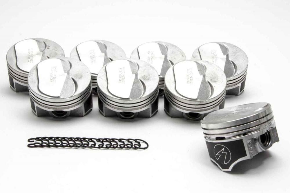.030 Over Bore 4.380 Bore diameter Chevy 454 Speed Pro Hypereutectic Coated .100cc Dome Pistons 7 MOLY Rings Kit.