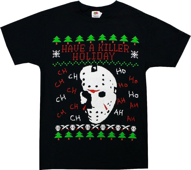Friday the 13th Jason Voorhees T-Shirt Creepy Killer Halloween Men/'s Black Tee