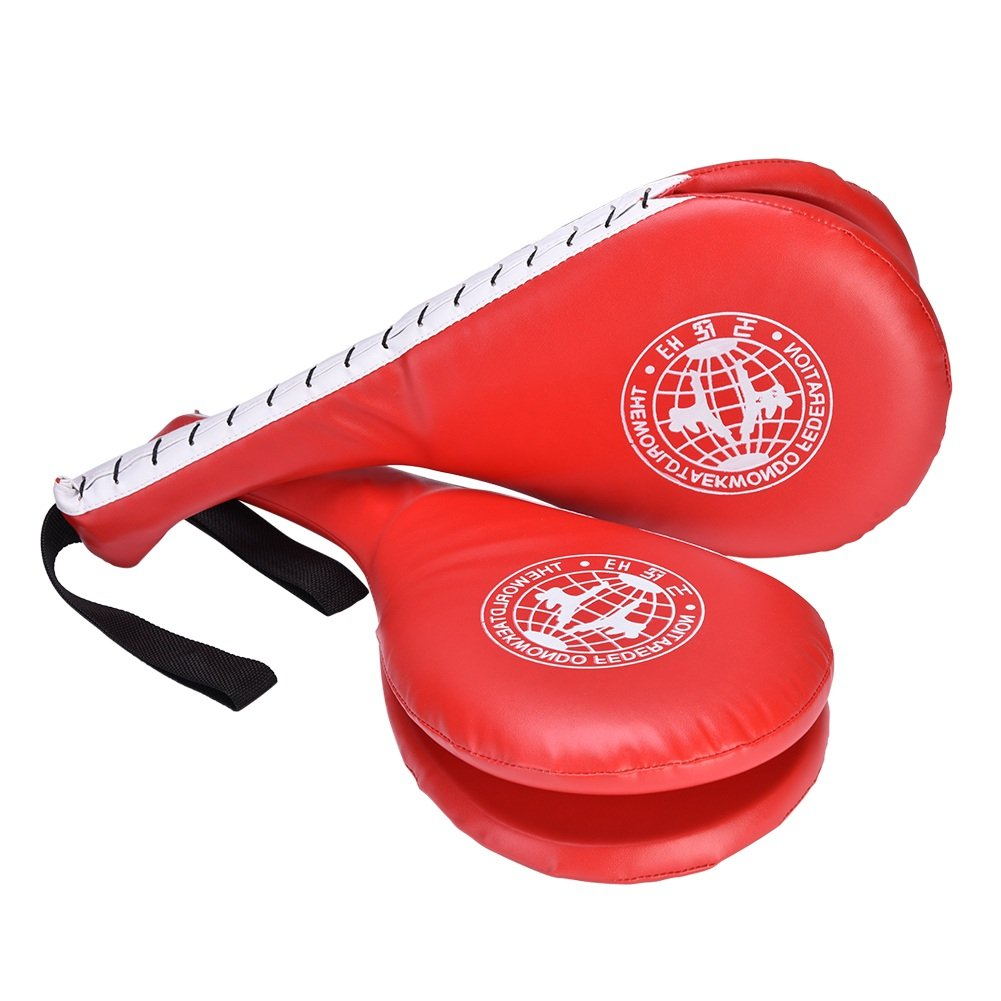 1Pair Taekwondo Pad Fighting Target Punching Karate Double Kicking TKD Training Foot Pad Martial Arts ( Color : Black ) VGEBY