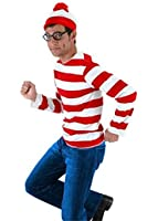 HBMaida Where's Waldo Costume Funny Sweatshirt Hoodie Outfit Glasses Hat Cap Suits