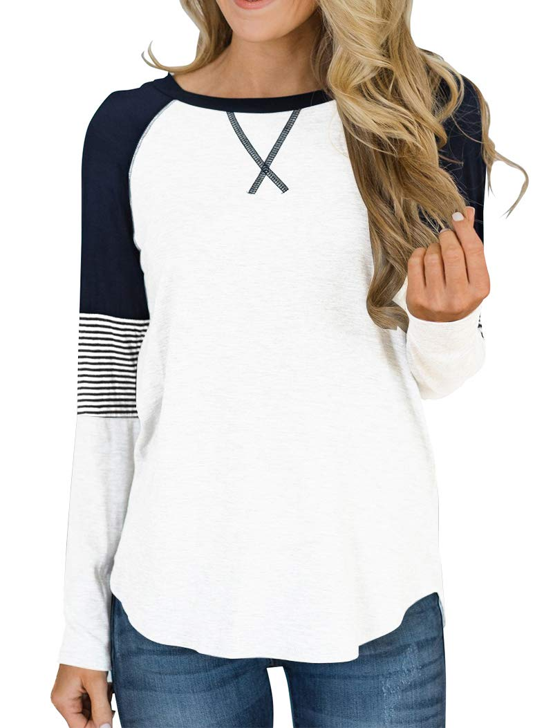 Hilltichu Women's Color Block Round Neck Tunic Tops Casual Long Sleeve and Short Sleeve Shirt Blouse by Hilltichu