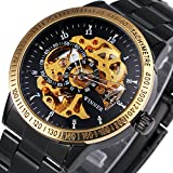 Caluxe Men Luxury Golden Automatic Watches Mechanical Movement Skeleton Dial