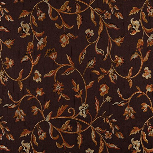 A0011B Brown Gold Persimmon and Ivory Embroidered Floral Brocade Upholstery and Window Treatments Fabric by The Yard (Discount Furniture Roberts)