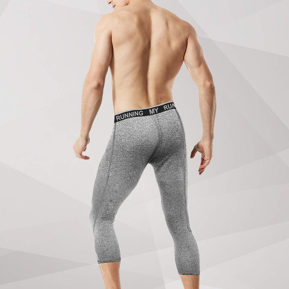 MEETYOO Mens 3//4 Compression Pants Leggings Tights Cool Dry Sport Workout HeatGear Capri Base Layer Running Cycling