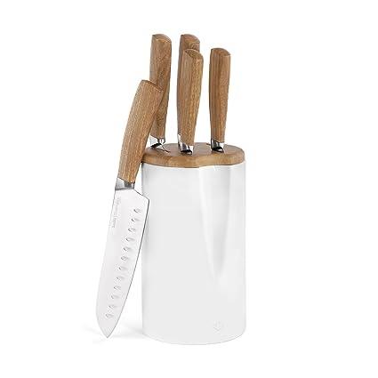 Bloque Para Cuchillos de Cerámica Smilla de 6 Piezas | Incluye soporte para cuchillos de cocina con mangos de madera
