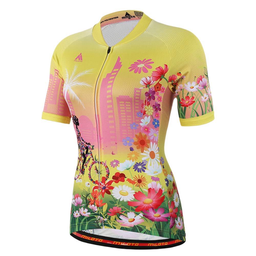 MILOTO Women s Cycling Jersey Short Sleeve Reflective Biking Tops (5XL 8ee9b8dde