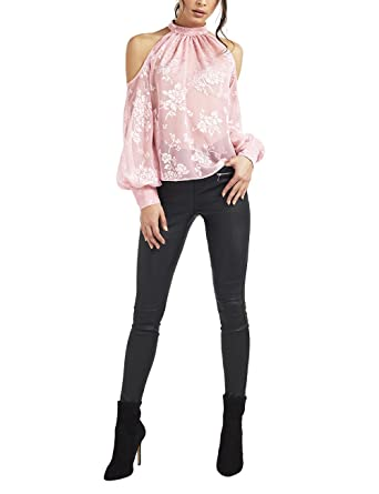 5b77f060231f Lipsy Womens Burnout Cold Shoulder Top - Pink -: Amazon.co.uk: Clothing