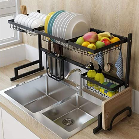 Amazon.com: Drainage Rack Black Stainless Steel Rack Bowl ...