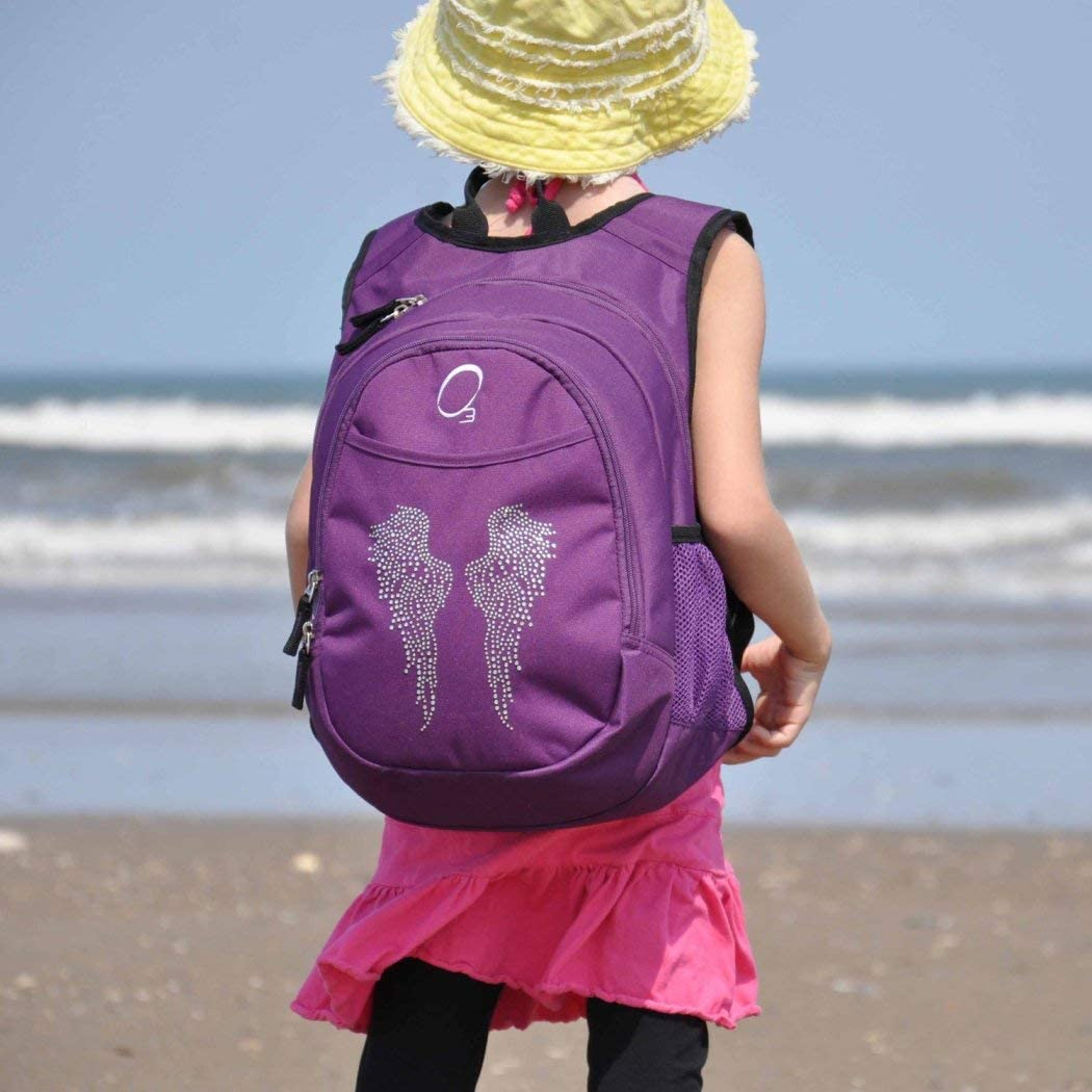 Girls Purple Angel Wing Backpack Cute Rhinestone Violet Wings Themed Carry On