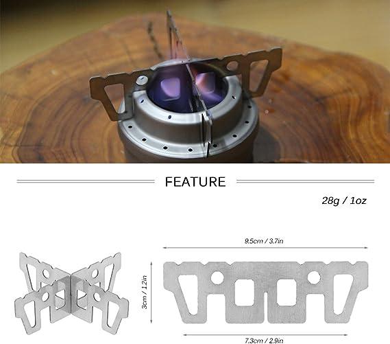 Soporte de titanio de hornillo de alcohol de Lixada, soporte en forma de cruz para minihornillo de combustión por líquidos, para acampadas y ...