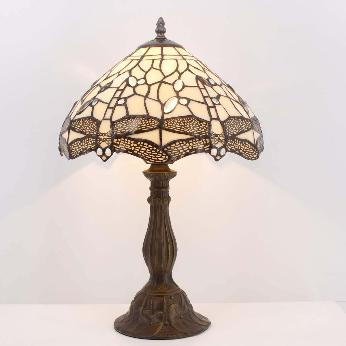 Tiffany Table Lamp Stained Glass Lotus Style Table Lamps Height 18 Inch for Living Room Antique Desk Beside Bedroom with Antique Style Zinc Base Sets S220 WERFACTORY