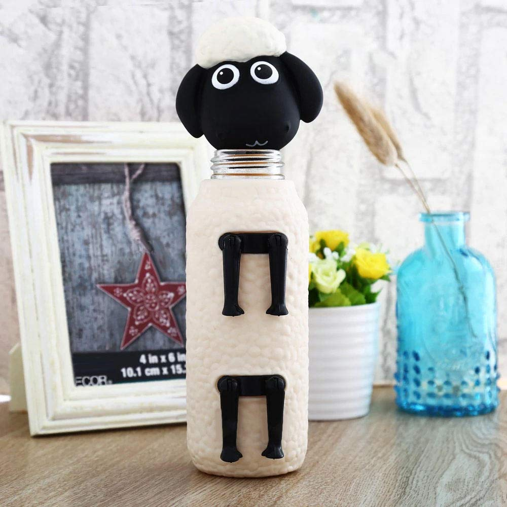 300ML Glass Water Bottle 3D Shaun The Sheep Creative Water Drink Bottle Bouteille Cute Water Bottle Children Creative Gift