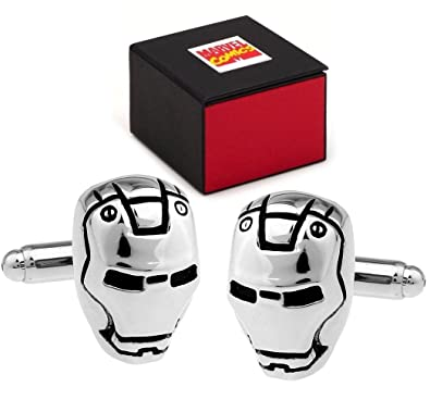MARVEL Avengers Iron Man Superhero Silver Helmet Cufflinks - Cuff Links Includes Marvel Comics Gift Box