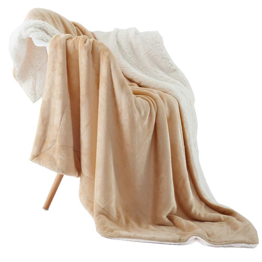 NANPIPER Bed Blanket Reversible Sherpa Flannel Blanket Super Soft Fuzzy Lightweight Fleece Microfiber 90x90,Purple