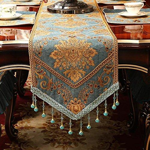 European table runner Modern simple fabric table cloth Coffee table table runner Bed runner Bed flag-C 35x220cm(14x87inch)