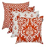 Accent Home Square Printed Cotton Cushion Cover,Throw Pillow Case, Slipover Pillowslip for Home Sofa Couch Chair Back Seat,4pc Pack 18x18 in Rust Color