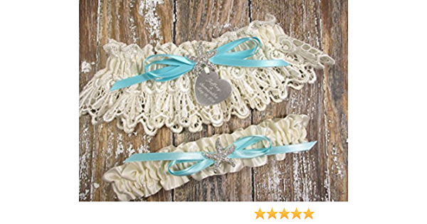 Robin/'s Egg Blue Beach Wedding Garter with a Rhinestone Starfish and Personalized Engraving