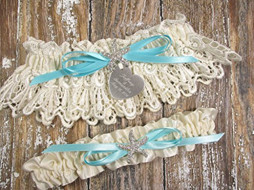 Starfish Beach Wedding Garter Set in Ivory Lace with a Rhinestone Starfish, Custom Color Bow and Personalized Engraving ()