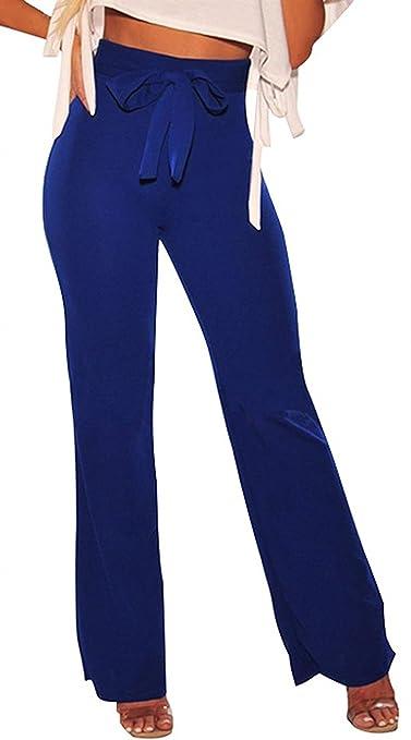 Mujer Elegantes Moda Pantalones Anchos Primavera Otoño Bandage Fiesta  Estilo con Lazo Elastische Taille Color Sólido Cómodo Outdoor Slim Fit  Largos Pants ... 6dc20ced93f7