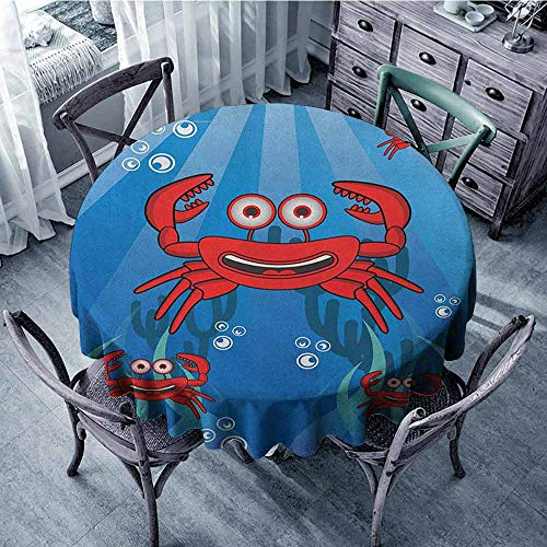 ScottDecor Banquet Round Tablecloth Tassel Tablecloth Crabs,A Group of Funny Crab Underwater with Smiling Happy Faces Bubbles Coral and Sun Rays, Blue Red Diameter 50