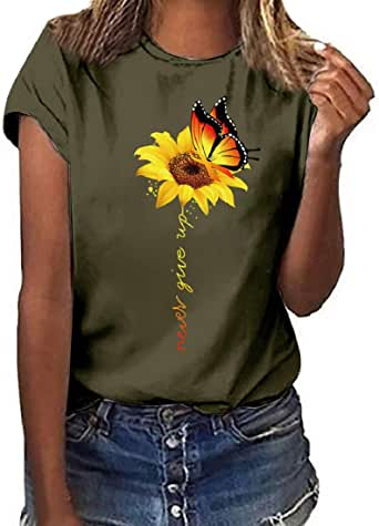 Women's Summer Short Sleeve T-Shirt Casual Sunflower Print Tee Tops Loose Fit Blouse Tank Top Army Green