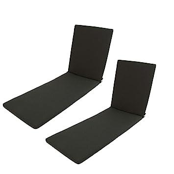 Edenjardi Pack 2 cojines para tumbona de exterior estándar Olefin color gris | Tamaño 196x60x5 cm | No pierde color | Desenfundable | Portes gratis