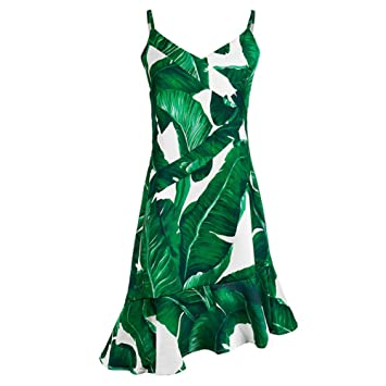 Vestidos Strapless Sling Skirt Falda con Cola de pez Verde V-Cuello Beach Dress Turismo