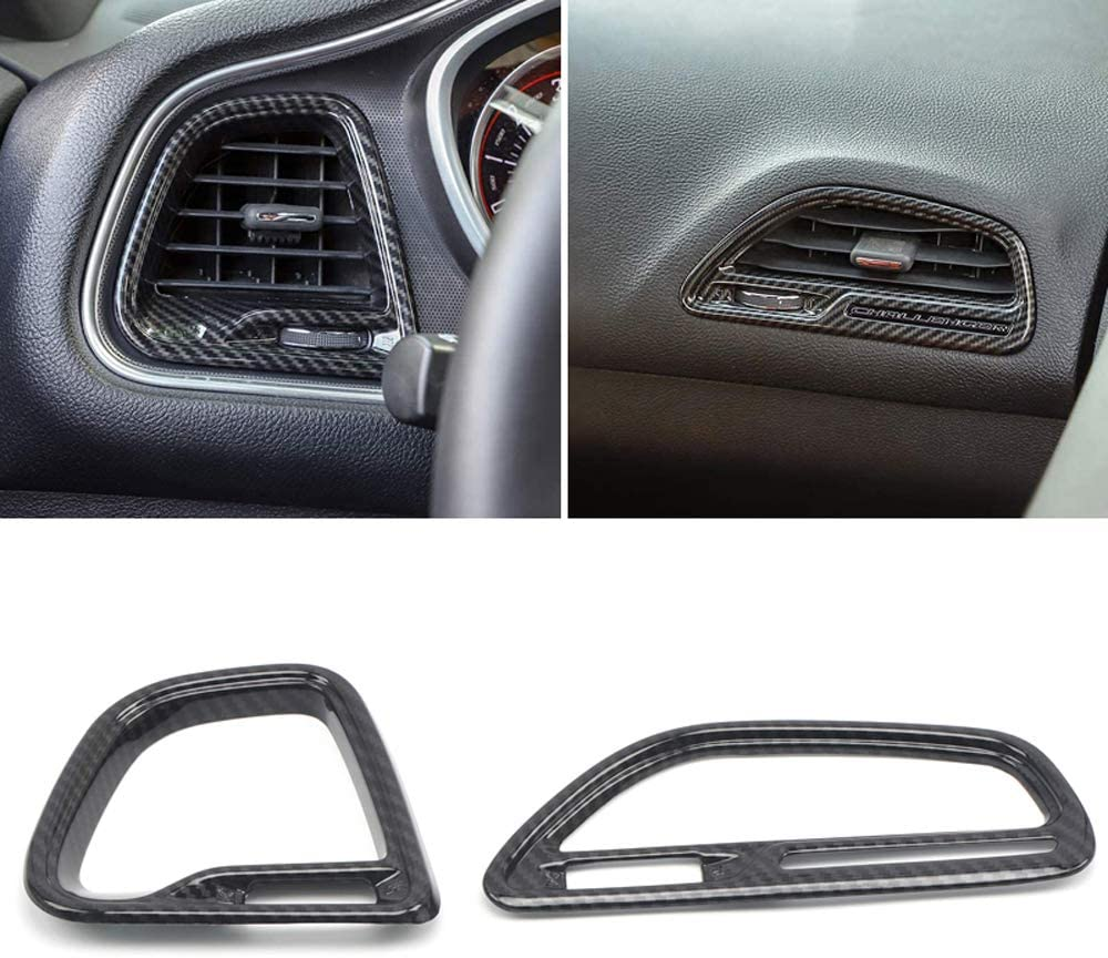 HIGH FLYING 2015-2019 for Dodge Challenger Carbon Fiber Grain Center Console A//C Air Vent Outlet Cover Trim Kit 4PCS ABS Accessories NOT Fit RHD
