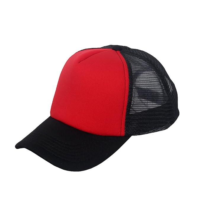 ffc6f3a68e013 oriental spring Adjustable Snapback Classic Plain Baseball Trucker Cap  Unisex Polyester Blank Mesh Hat (Black Red)  Amazon.co.uk  Clothing