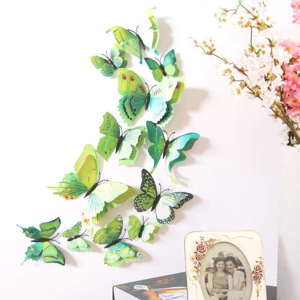 CWLLWC Wall Stickers, Double-Decker Simulation Butterfly Refrigerator Curtains Sticker Sofa Background TV Wall Sticker Green, 30