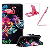 Wallet Leather Case for Samsung Galaxy S9,Flip Case for Samsung Galaxy S9,Herzzer Stylish Premium Flamingo Flower Printed Magnetic Stand PU Leather with Inner Soft Rubber Case