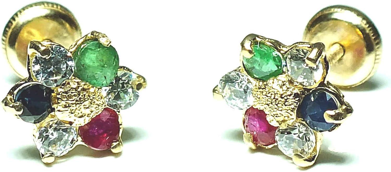 Pendientes en oro, diseño flor con piedras naturales engastadas de alta calidad y cierre de maxima seguridad.