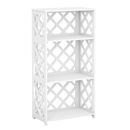 Rackaphile 3 Tier Bookcase Storage Shelf Wood Plastic Waterproof Bookshelf Organizer Shelving Unit