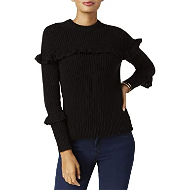 Michael Michael Kors Womens Ruffled Heavy Crewneck Sweater Black XL ... 8cf7733c4