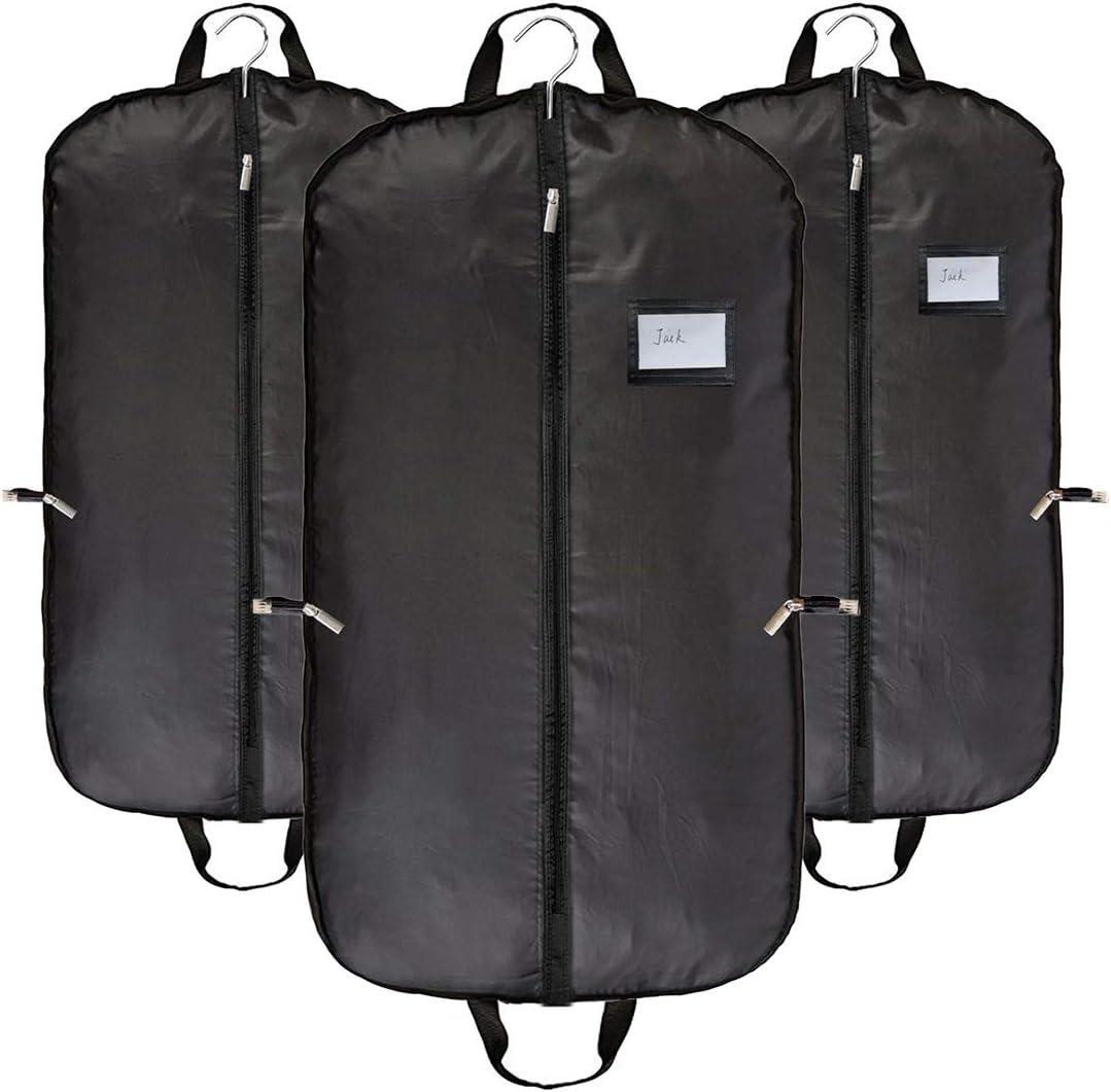 Transpirable para la ropa traje de viaje fundas para la ropa bolsas negro para hombres por abimars–polvo con asas, Paquete de 3y 5bolas de madera de cedro, negro, Medium