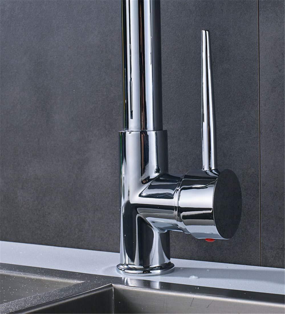 Zhoudashu Spring Pull Down Matte Negro Mezclador Mezclador De Cocina Grifo Deck Montado Dual Spout Kitchen Sink Crane Taps Handheld Sprayer Shower Head 470 190Mm Cromo