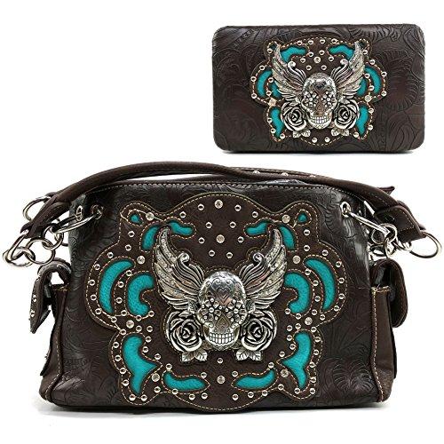 Justin West Tooled Winged Sugar Skull Roses Laser Cut Chain Shoulder Concealed Carry Handbag Purse Wallet Messenger Bag (Dark Brown Handbag and Wallet Set)