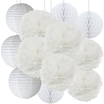 Amazon bridal shower decor white paper flower tissue paper pom bridal shower decor white paper flower tissue paper pom poms paper lanterns tissue paper honeycomb balls mightylinksfo