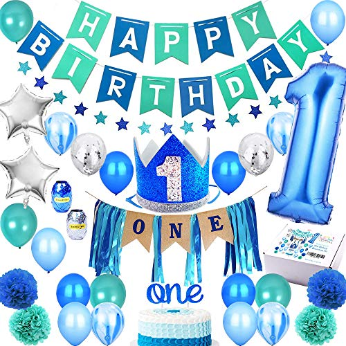 First Birthday Boy Decorations (1st Birthday Boy Decorations PREMIUM Set | High Chair Decoration, First Royal Prince Boys Crown Hat, Happy Bday Party Banner, ONE Cake Topper, Confetti, Marble, Foil and Latex Balloons, Star)