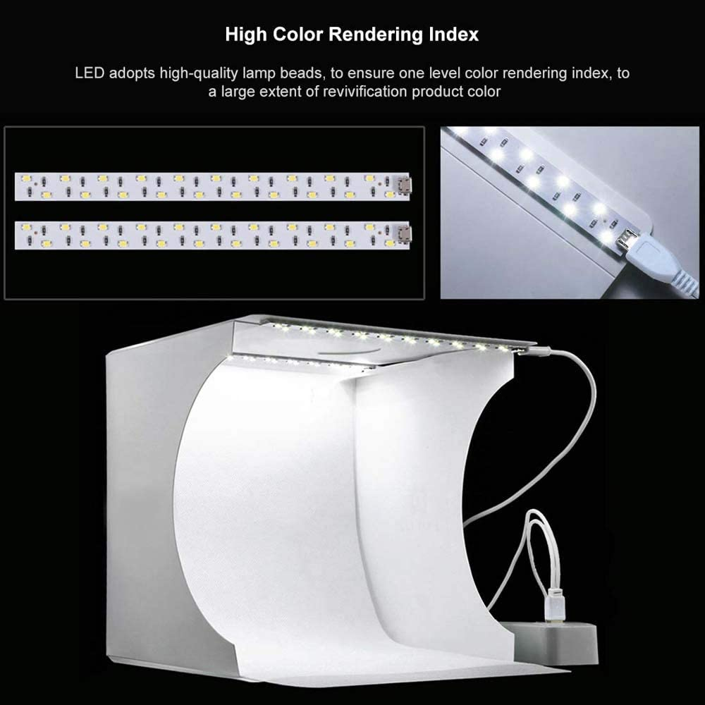 2 LED Lights Strips and 6 PCS Color Background FXQIN Mini Photo Studio Light Box Foldable Shooting Tent Photography Light Box Kit with Top Hole