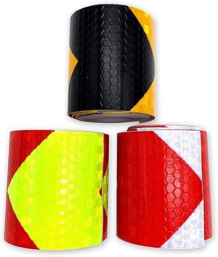 Rojo//Blanco, Negro//Amarillo, Rojo//Verde gotyou 3 Piezas 3m Cinta Reflectante de Advertencia,Pegatina de Seguridad Fluorescente,Pegatina Reflectante para Motos Camiones Bicicletas