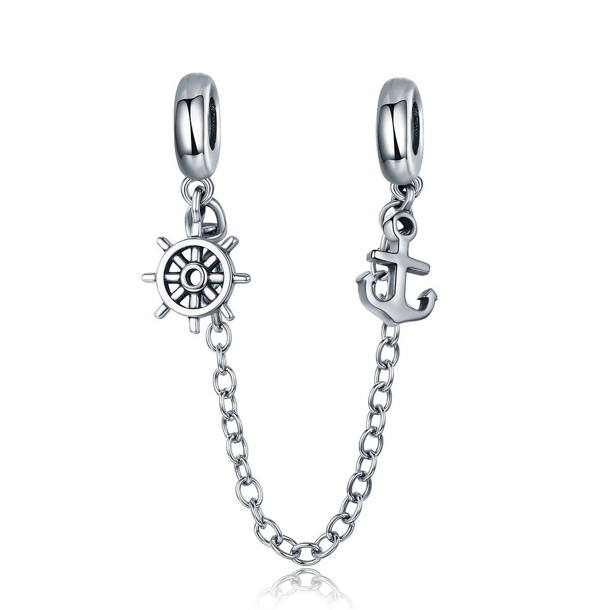 Inbeaut Nouvelle arrivée Argent sterling 925Voyage Ancre et gouvernail Chaîne de sécurité Bouchon Charm Fit Bracelet Bracelets Bijoux Wendear Jewelry