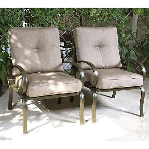 Wrought Iron Seating (Cloud Mountain Set of 2 Club Chairs Outdoor Patio Wrought Iron Dining Chairs Garden Furniture Seating Chairs Set, Gradient Brown Cushion)